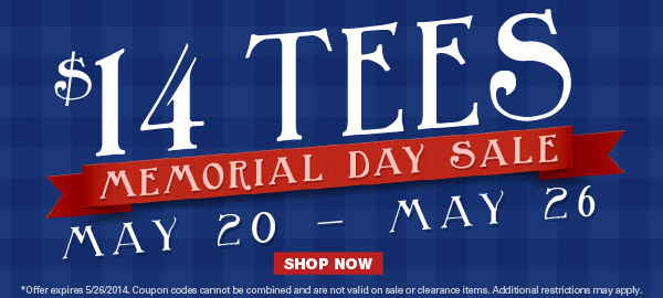 Memorial Day Sale - $14 Tees