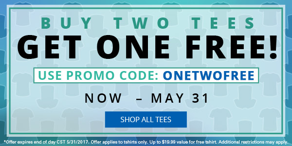 Buy Two Tees Get One Free!