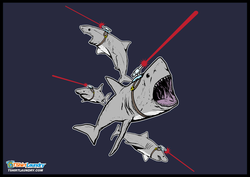 laser sharks t shirt tshirt laundry